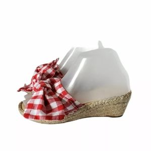 Carmen Saiz Gingham Wedge Espadrille Shoes 5